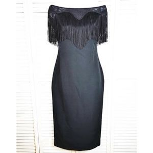 bebe Sexy Tassel Lace Bodycon Party Slim Dress